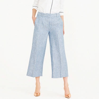 Gazebo Pant In Market Stripe - length: standard; pattern: striped; style: palazzo; waist: high rise; predominant colour: pale blue; occasions: casual, creative work; fibres: linen - 100%; texture group: linen; fit: wide leg; pattern type: fabric; pattern size: big & busy (bottom); season: s/s 2016; wardrobe: highlight