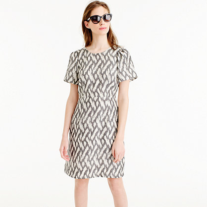 Petite Flutter Sleeve Dress In Ikat - style: shift; neckline: round neck; predominant colour: stone; occasions: casual, creative work; length: just above the knee; fit: body skimming; fibres: silk - 100%; sleeve length: short sleeve; sleeve style: standard; texture group: silky - light; pattern type: fabric; pattern: patterned/print; season: s/s 2016; wardrobe: highlight