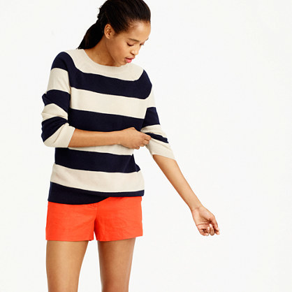 Italian Cashmere Striped Boyfriend Crewneck Sweater - neckline: round neck; pattern: horizontal stripes; style: standard; predominant colour: ivory/cream; secondary colour: black; occasions: casual, creative work; length: standard; fit: standard fit; fibres: cashmere - 100%; sleeve length: long sleeve; sleeve style: standard; texture group: knits/crochet; pattern type: knitted - fine stitch; pattern size: big & busy (top); season: s/s 2016; wardrobe: highlight