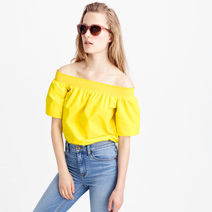 Cotton Off The Shoulder Top - neckline: off the shoulder; pattern: plain; length: cropped; predominant colour: yellow; occasions: casual; style: top; fibres: cotton - 100%; fit: body skimming; sleeve length: short sleeve; sleeve style: standard; texture group: cotton feel fabrics; pattern type: fabric; season: s/s 2016; wardrobe: highlight