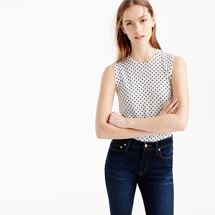 Cotton Jackie Shell In Dot - sleeve style: sleeveless; pattern: polka dot; predominant colour: white; secondary colour: black; occasions: casual; length: standard; style: top; fibres: cotton - 100%; fit: body skimming; neckline: crew; sleeve length: sleeveless; trends: monochrome; pattern type: fabric; pattern size: light/subtle; texture group: other - light to midweight; season: s/s 2016; wardrobe: highlight
