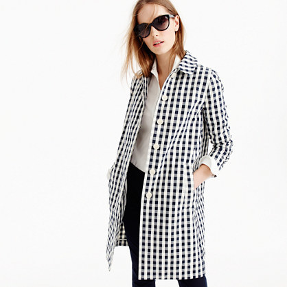 Trench Coat In Gingham - pattern: checked/gingham; style: trench coat; length: mid thigh; secondary colour: white; predominant colour: black; occasions: casual, creative work; fit: tailored/fitted; fibres: cotton - 100%; collar: shirt collar/peter pan/zip with opening; sleeve length: long sleeve; sleeve style: standard; trends: monochrome; collar break: high; pattern type: fabric; texture group: woven light midweight; pattern size: big & busy (top); season: s/s 2016; wardrobe: highlight