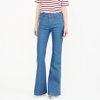 Ashbury Flare Jean In Palmetto Wash - style: flares; length: standard; pattern: plain; waist: mid/regular rise; predominant colour: denim; occasions: casual; fibres: cotton - stretch; texture group: denim; pattern type: fabric; season: s/s 2016; wardrobe: basic