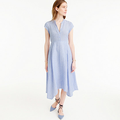 Short Sleeve Shirtdress In Linen - style: shirt; length: calf length; pattern: plain; predominant colour: pale blue; occasions: casual; fit: body skimming; neckline: collarstand; fibres: linen - 100%; sleeve length: short sleeve; sleeve style: standard; texture group: linen; pattern type: fabric; season: s/s 2016; wardrobe: highlight