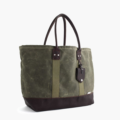 Billykirk® Waxed Canvas Tote Bag In Olive - predominant colour: khaki; secondary colour: black; occasions: casual, creative work; type of pattern: light; style: tote; length: handle; size: standard; material: fabric; finish: plain; pattern: colourblock; season: s/s 2016; wardrobe: highlight