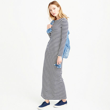 Long Sleeve Striped Dress - neckline: round neck; pattern: horizontal stripes; style: maxi dress; length: ankle length; secondary colour: white; predominant colour: black; occasions: casual, creative work; fit: body skimming; fibres: cotton - 100%; sleeve length: long sleeve; sleeve style: standard; pattern type: fabric; texture group: jersey - stretchy/drapey; season: s/s 2016; wardrobe: basic