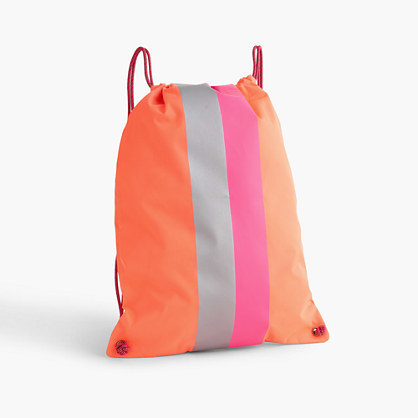 Kids' Drawstring Backpack - secondary colour: pink; predominant colour: bright orange; occasions: casual; type of pattern: standard; style: rucksack; length: rucksack; size: standard; material: fabric; finish: plain; pattern: colourblock; multicoloured: multicoloured; season: s/s 2016; wardrobe: highlight