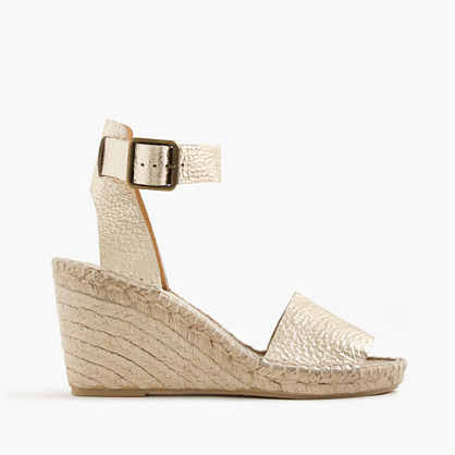 Corsica Metallic Tumbled Leather Espadrille Wedges - predominant colour: gold; occasions: casual, creative work; material: leather; heel height: high; ankle detail: ankle strap; heel: wedge; toe: open toe/peeptoe; style: standard; finish: metallic; pattern: plain; season: s/s 2016; wardrobe: highlight