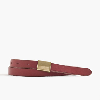 Leather Plaque Belt - predominant colour: tan; secondary colour: gold; occasions: casual, creative work; type of pattern: standard; style: classic; size: skinny; worn on: waist; material: leather; pattern: plain; finish: plain; season: s/s 2016