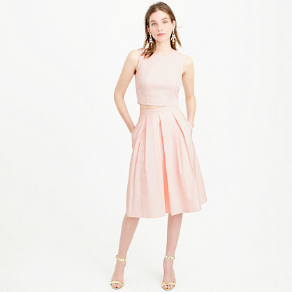Pleated High Waisted Skirt - length: below the knee; pattern: plain; style: full/prom skirt; fit: loose/voluminous; waist: high rise; predominant colour: blush; fibres: cotton - mix; occasions: occasion; hip detail: adds bulk at the hips; texture group: structured shiny - satin/tafetta/silk etc.; pattern type: fabric; season: s/s 2016; wardrobe: event
