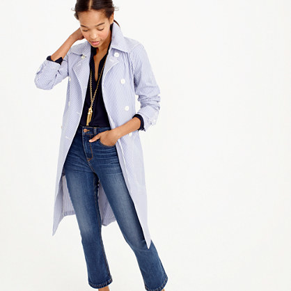 Trench Coat In Shirting Stripe - pattern: striped; style: trench coat; predominant colour: pale blue; occasions: casual, creative work; fit: tailored/fitted; fibres: cotton - 100%; length: below the knee; collar: shirt collar/peter pan/zip with opening; sleeve length: long sleeve; sleeve style: standard; texture group: cotton feel fabrics; collar break: medium; pattern type: fabric; pattern size: standard; season: s/s 2016