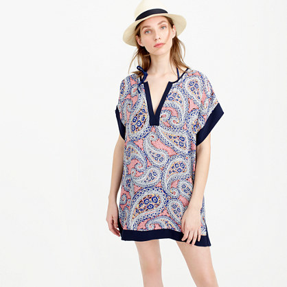 Colorblock Paisley Tunic - neckline: low v-neck; sleeve style: dolman/batwing; style: tunic; pattern: paisley; predominant colour: pink; secondary colour: navy; fibres: polyester/polyamide - 100%; fit: loose; length: mid thigh; sleeve length: short sleeve; occasions: holiday; pattern type: fabric; texture group: woven light midweight; pattern size: big & busy (top); multicoloured: multicoloured; season: s/s 2016; wardrobe: holiday