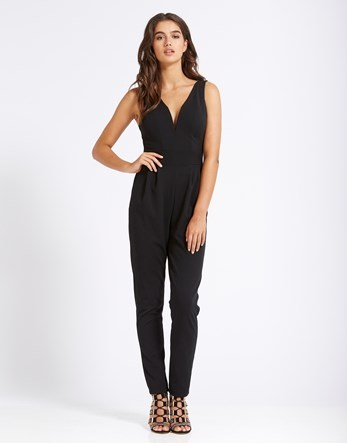 Plunge Neck Jumpsuit - length: standard; neckline: low v-neck; pattern: plain; sleeve style: sleeveless; predominant colour: black; occasions: evening; fit: body skimming; fibres: polyester/polyamide - stretch; sleeve length: sleeveless; style: jumpsuit; pattern type: fabric; texture group: jersey - stretchy/drapey; season: s/s 2016; wardrobe: event