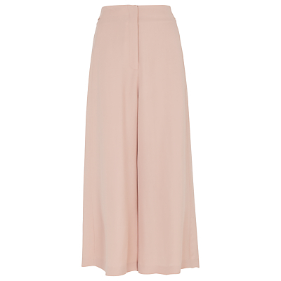 Flared Cropped Trousers - pattern: plain; style: palazzo; waist: high rise; predominant colour: blush; length: ankle length; fibres: viscose/rayon - 100%; occasions: occasion; texture group: sheer fabrics/chiffon/organza etc.; fit: wide leg; pattern type: fabric; season: s/s 2016; wardrobe: event