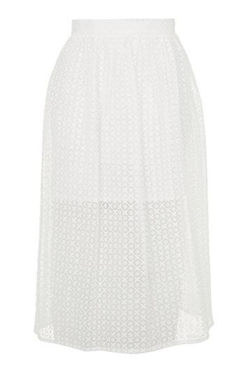 Organza Prom Midi Skirt - length: below the knee; fit: loose/voluminous; style: pleated; waist: high rise; predominant colour: ivory/cream; fibres: cotton - 100%; occasions: occasion; texture group: sheer fabrics/chiffon/organza etc.; pattern type: fabric; pattern: patterned/print; embellishment: lace; pattern size: standard (bottom); trends: pretty girl; season: s/s 2016; wardrobe: event; embellishment location: pattern