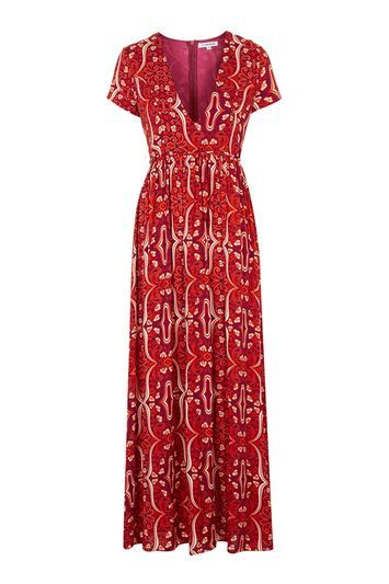 V Neck Maxi Dress By Glamorous - neckline: low v-neck; fit: fitted at waist; style: maxi dress; length: ankle length; secondary colour: ivory/cream; predominant colour: true red; occasions: casual; fibres: viscose/rayon - 100%; sleeve length: short sleeve; sleeve style: standard; pattern type: fabric; pattern size: standard; pattern: patterned/print; texture group: jersey - stretchy/drapey; season: s/s 2016; wardrobe: highlight