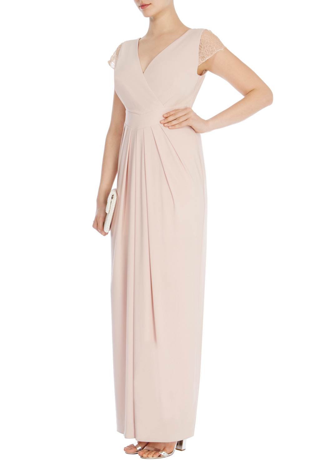 Cherina Jersey Maxi Dress Sl - neckline: v-neck; sleeve style: capped; pattern: plain; style: maxi dress; length: ankle length; predominant colour: blush; occasions: evening; fit: body skimming; fibres: polyester/polyamide - stretch; sleeve length: short sleeve; pattern type: fabric; texture group: jersey - stretchy/drapey; shoulder detail: sheer at shoulder; season: s/s 2016; wardrobe: event