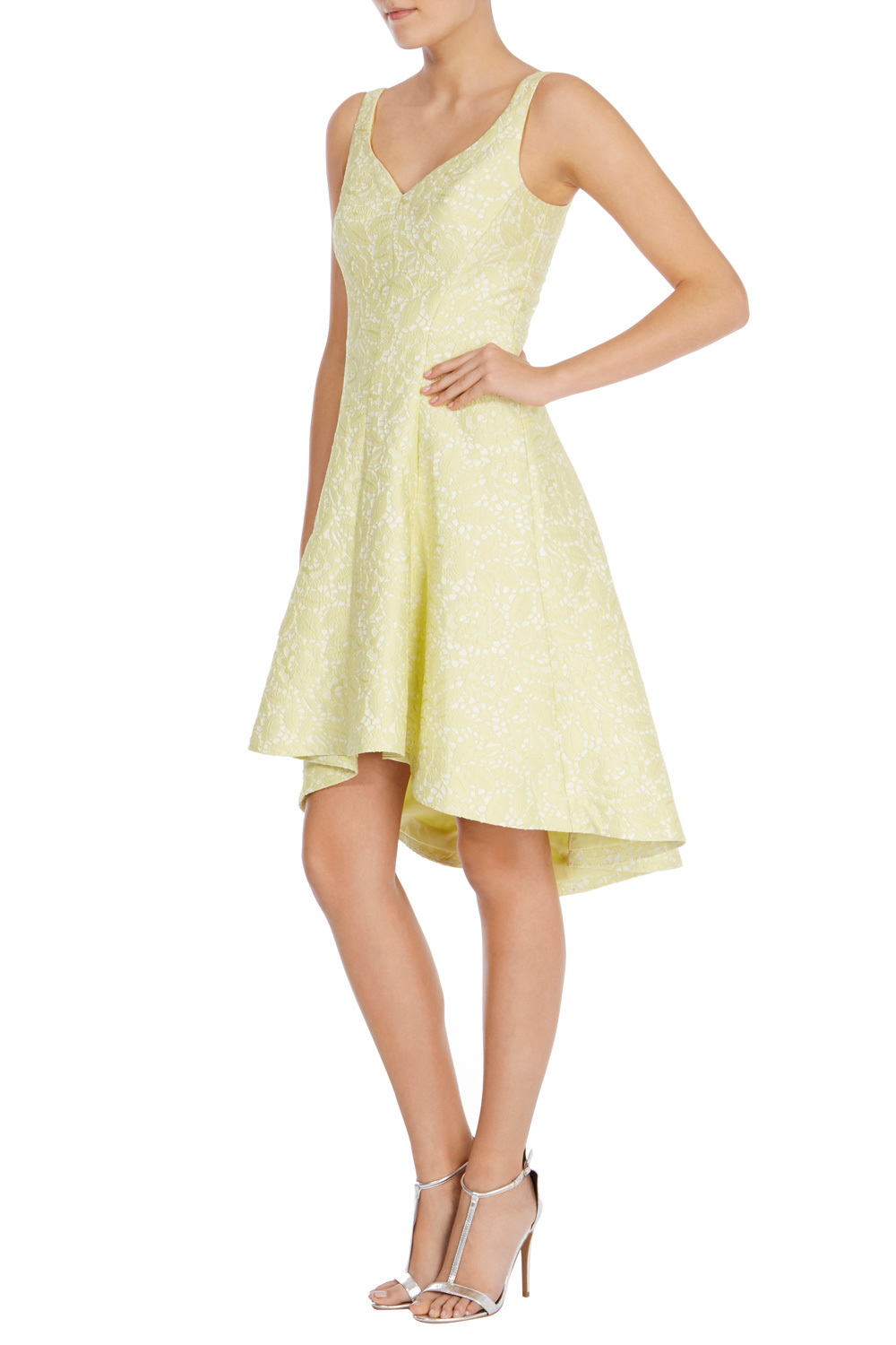 Suzanna Jacquard Dress - neckline: v-neck; pattern: plain; sleeve style: sleeveless; style: prom dress; secondary colour: white; predominant colour: primrose yellow; occasions: evening; length: just above the knee; fit: fitted at waist & bust; fibres: polyester/polyamide - 100%; sleeve length: sleeveless; pattern type: fabric; pattern size: standard; texture group: brocade/jacquard; season: s/s 2016; wardrobe: event