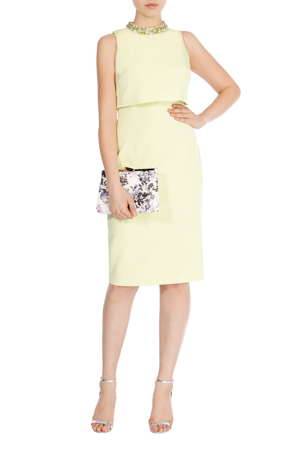 Petrina Shift Dress - style: shift; length: below the knee; fit: tailored/fitted; pattern: plain; sleeve style: sleeveless; neckline: high neck; bust detail: subtle bust detail; predominant colour: primrose yellow; secondary colour: primrose yellow; occasions: evening; fibres: viscose/rayon - stretch; sleeve length: sleeveless; pattern type: fabric; texture group: woven light midweight; embellishment: jewels/stone; season: s/s 2016; wardrobe: event