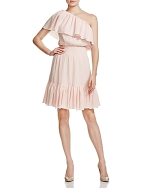 One Shoulder Gauze Dress 100% Bloomingdale's Exclusive - fit: fitted at waist; pattern: plain; style: asymmetric (top); sleeve style: asymmetric sleeve; waist detail: fitted waist; neckline: asymmetric; predominant colour: blush; length: just above the knee; fibres: polyester/polyamide - 100%; occasions: occasion; hip detail: subtle/flattering hip detail; sleeve length: sleeveless; texture group: crepes; pattern type: fabric; season: s/s 2016; wardrobe: event