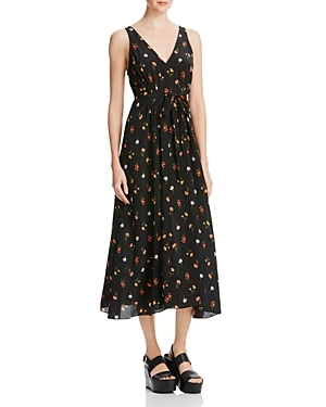 Mini Meadow Floral Print Silk Dress - length: calf length; neckline: low v-neck; sleeve style: sleeveless; predominant colour: black; occasions: evening; fit: soft a-line; style: fit & flare; fibres: silk - 100%; sleeve length: short sleeve; texture group: silky - light; pattern type: fabric; pattern size: light/subtle; pattern: patterned/print; secondary colour: raspberry; season: s/s 2016