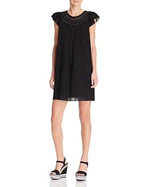 Crocheted Neck Cotton Dress - style: shift; length: mid thigh; pattern: plain; predominant colour: black; occasions: casual; fit: body skimming; fibres: cotton - 100%; neckline: crew; sleeve length: short sleeve; sleeve style: standard; texture group: crepes; pattern type: fabric; season: s/s 2016; wardrobe: basic