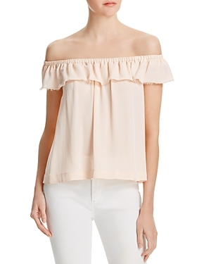 Silk Off The Shoulder Top - neckline: off the shoulder; pattern: plain; bust detail: subtle bust detail; predominant colour: nude; occasions: casual, holiday; length: standard; style: top; fibres: silk - 100%; fit: straight cut; sleeve length: short sleeve; sleeve style: standard; texture group: silky - light; pattern type: fabric; season: s/s 2016; wardrobe: highlight