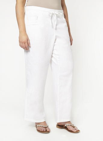 Womens Evans White Linen Trousers, White - length: standard; pattern: plain; waist detail: belted waist/tie at waist/drawstring; waist: mid/regular rise; predominant colour: white; occasions: casual, creative work; fibres: linen - 100%; texture group: linen; fit: straight leg; pattern type: fabric; style: standard; season: s/s 2016; wardrobe: basic