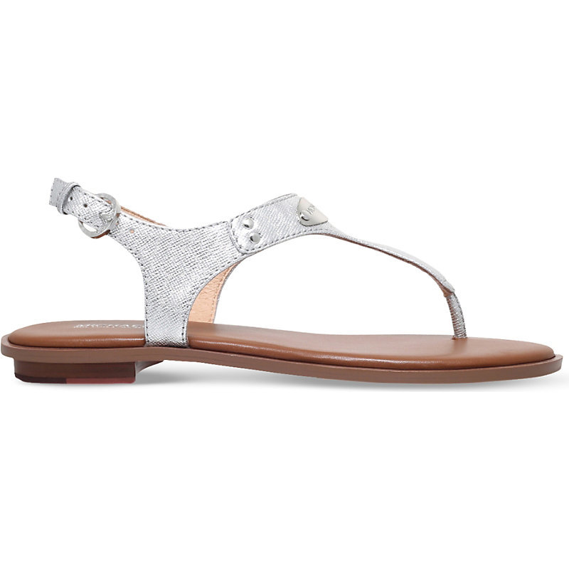 Plate Metallic Leather Sandals, Women's, Eur 37.5 / 4.5 Uk Women, Silver - predominant colour: silver; material: leather; heel height: flat; ankle detail: ankle strap; heel: standard; toe: toe thongs; style: flip flops; occasions: holiday; finish: metallic; pattern: plain; embellishment: chain/metal; season: s/s 2016; wardrobe: highlight