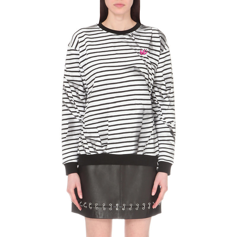 Swallow Motif Striped Cotton Jersey Sweatshirt, Women's, Size: Small, Broken Stripe - pattern: horizontal stripes; style: sweat top; hip detail: draws attention to hips; predominant colour: white; secondary colour: black; occasions: casual; length: standard; fibres: cotton - 100%; fit: loose; neckline: crew; sleeve length: long sleeve; sleeve style: standard; pattern type: fabric; texture group: jersey - stretchy/drapey; multicoloured: multicoloured; season: s/s 2016; wardrobe: basic