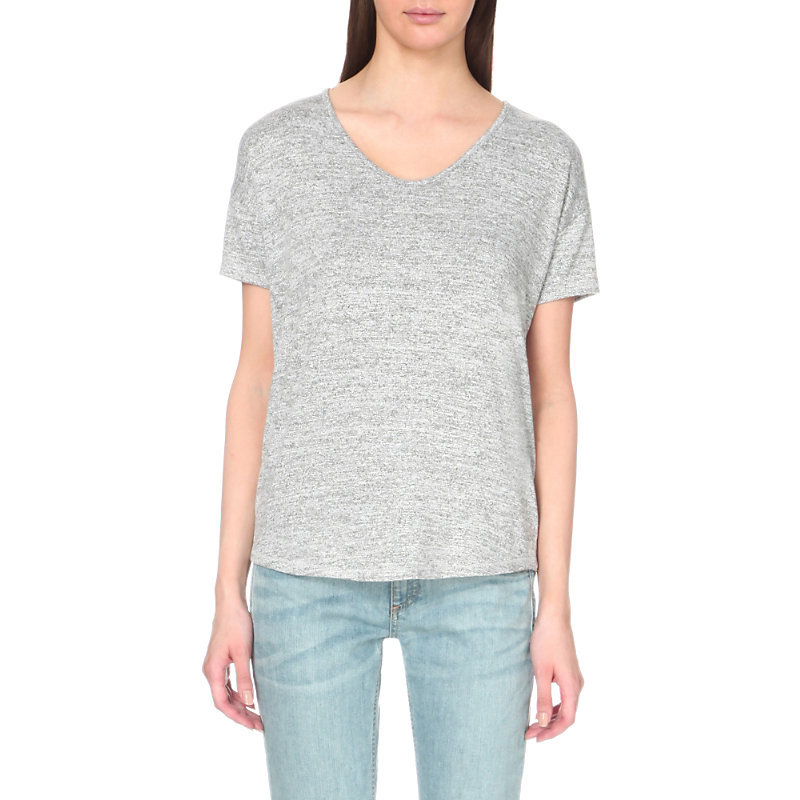 Melrose Femme T Shirt, Women's, Size: Small, Heather Grey - neckline: v-neck; pattern: plain; style: t-shirt; predominant colour: light grey; occasions: casual; length: standard; fibres: polyester/polyamide - stretch; fit: body skimming; sleeve length: short sleeve; sleeve style: standard; pattern type: fabric; texture group: jersey - stretchy/drapey; season: s/s 2016