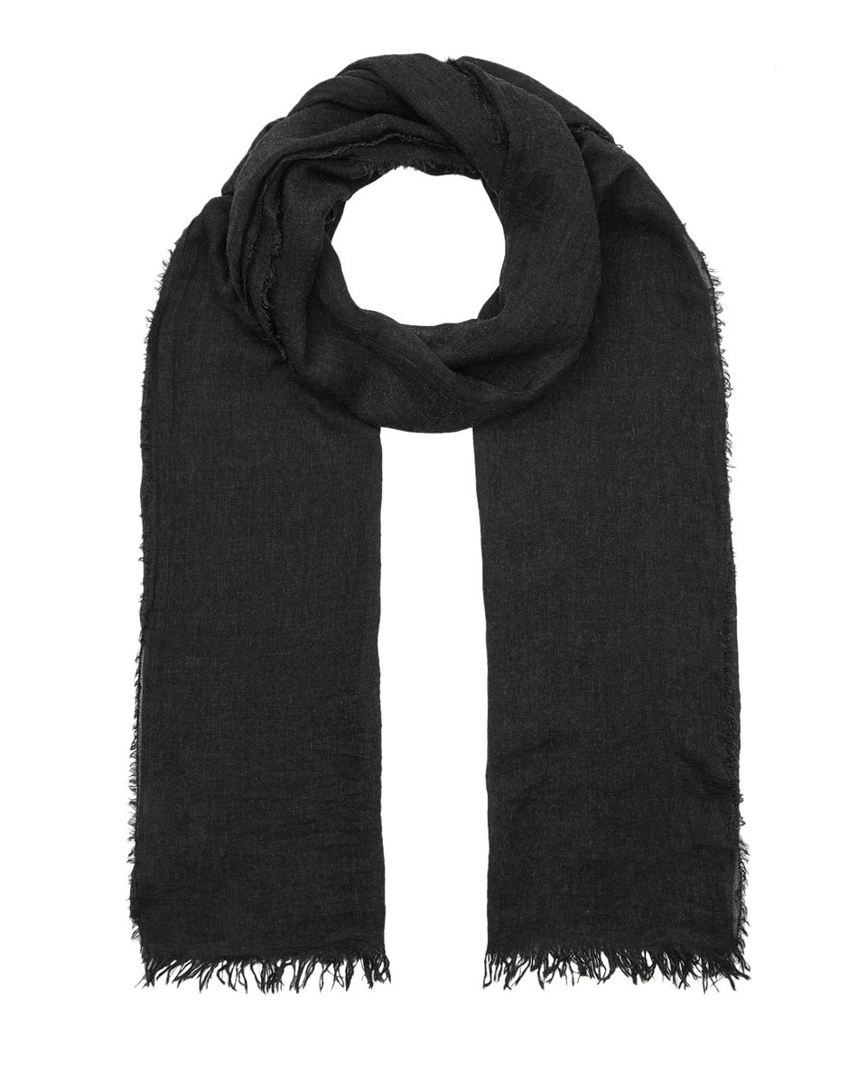 Plain Fringe Edge Scarf - predominant colour: black; occasions: casual, creative work; type of pattern: standard; style: regular; size: standard; material: fabric; pattern: plain; season: s/s 2016; wardrobe: basic