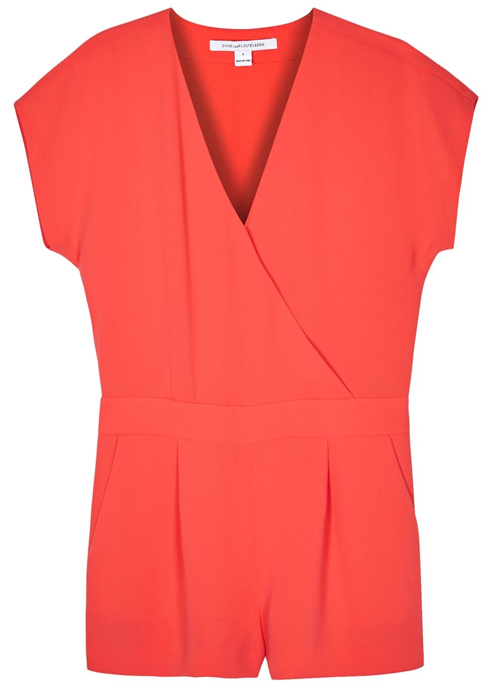 Emerson Coral Crepe Playsuit Size - neckline: v-neck; sleeve style: capped; pattern: plain; length: short shorts; predominant colour: coral; occasions: evening; fit: straight cut; fibres: polyester/polyamide - 100%; hip detail: adds bulk at the hips; waist detail: feature waist detail; sleeve length: short sleeve; texture group: crepes; style: playsuit; pattern type: fabric; season: s/s 2016; wardrobe: event