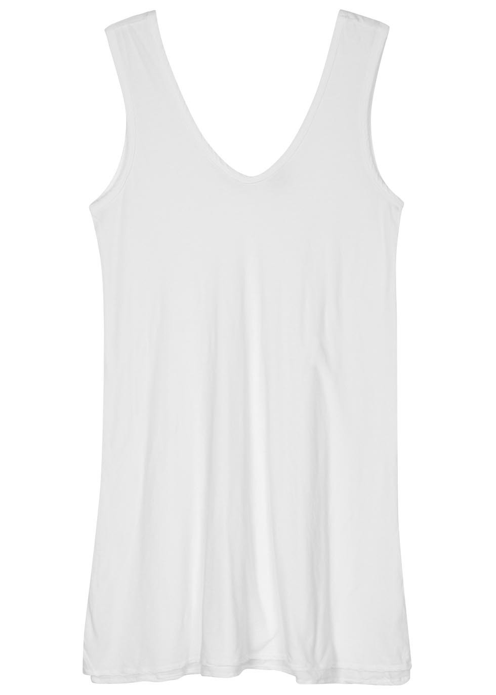 White Cotton Jersey Dress - length: mini; neckline: low v-neck; pattern: plain; sleeve style: sleeveless; style: vest; predominant colour: white; occasions: casual; fit: body skimming; fibres: cotton - 100%; sleeve length: sleeveless; pattern type: fabric; pattern size: standard; texture group: jersey - stretchy/drapey; season: s/s 2016; wardrobe: basic