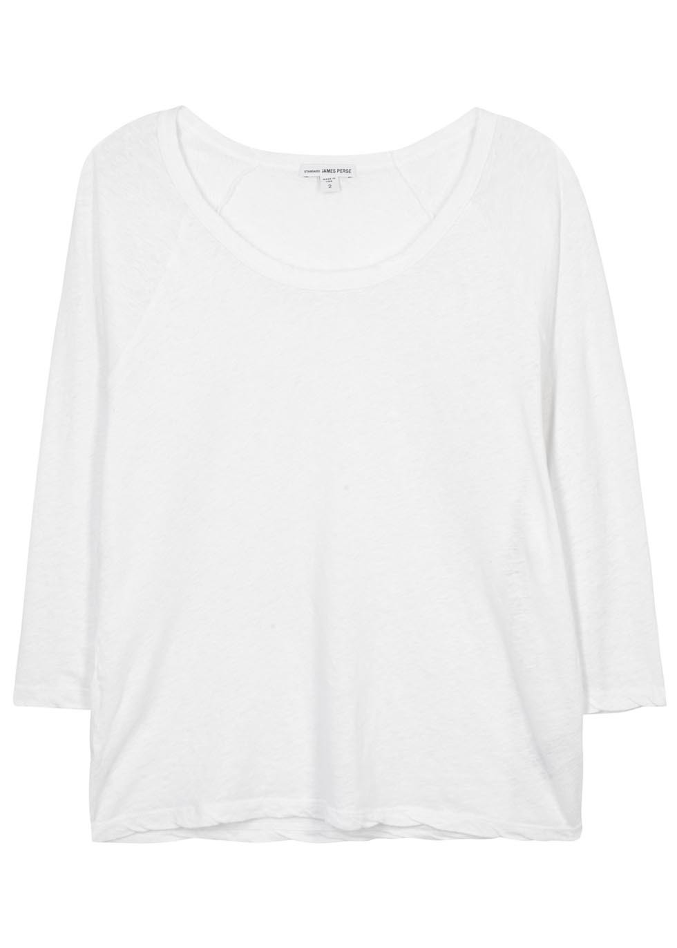 White Slubbed Linen Blend Top - pattern: plain; style: t-shirt; predominant colour: white; occasions: casual; length: standard; neckline: scoop; fibres: linen - mix; fit: loose; sleeve length: 3/4 length; sleeve style: standard; pattern type: fabric; texture group: jersey - stretchy/drapey; season: s/s 2016; wardrobe: basic