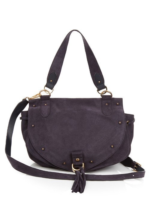 Collins Leather And Suede Cross Body Bag - predominant colour: aubergine; occasions: casual, creative work; type of pattern: standard; style: saddle; length: across body/long; size: standard; material: leather; pattern: plain; finish: plain; season: s/s 2016; wardrobe: highlight