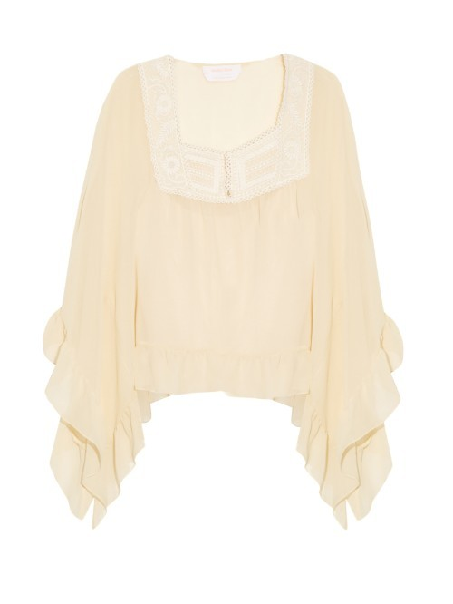 Macramé Lace Neckline Peasant Top - sleeve style: angel/waterfall; pattern: plain; predominant colour: primrose yellow; occasions: casual, creative work; length: standard; fibres: silk - mix; fit: body skimming; style: gypsy/peasant; sleeve length: 3/4 length; texture group: crepes; neckline: medium square neck; pattern type: fabric; season: s/s 2016; wardrobe: highlight