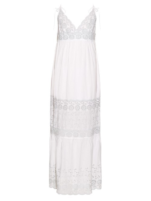 Broderie Anglaise Cotton Dress - neckline: v-neck; pattern: plain; sleeve style: sleeveless; style: maxi dress; predominant colour: white; occasions: evening; length: floor length; fit: body skimming; fibres: cotton - 100%; sleeve length: sleeveless; pattern type: fabric; texture group: broiderie anglais; season: s/s 2016; wardrobe: event