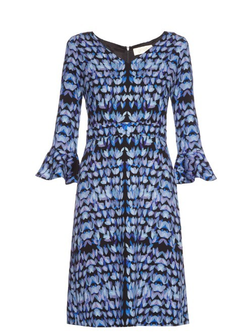 Cristiana Petal Print Crepe Dress - style: shift; neckline: v-neck; sleeve style: bell sleeve; predominant colour: denim; secondary colour: black; occasions: evening; length: on the knee; fit: body skimming; fibres: viscose/rayon - stretch; sleeve length: 3/4 length; texture group: crepes; pattern type: fabric; pattern: patterned/print; multicoloured: multicoloured; season: s/s 2016; wardrobe: event