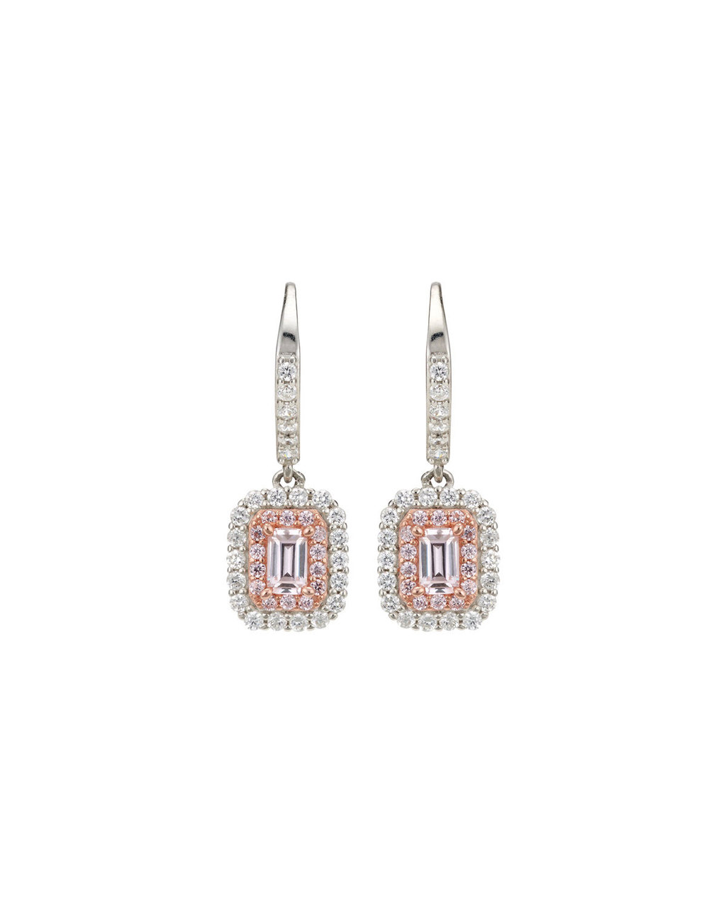 Cubic Zirconia Drop Earrings - predominant colour: silver; secondary colour: gold; occasions: evening, occasion; style: drop; length: mid; size: large/oversized; material: chain/metal; fastening: pierced; finish: metallic; embellishment: crystals/glass; season: s/s 2016