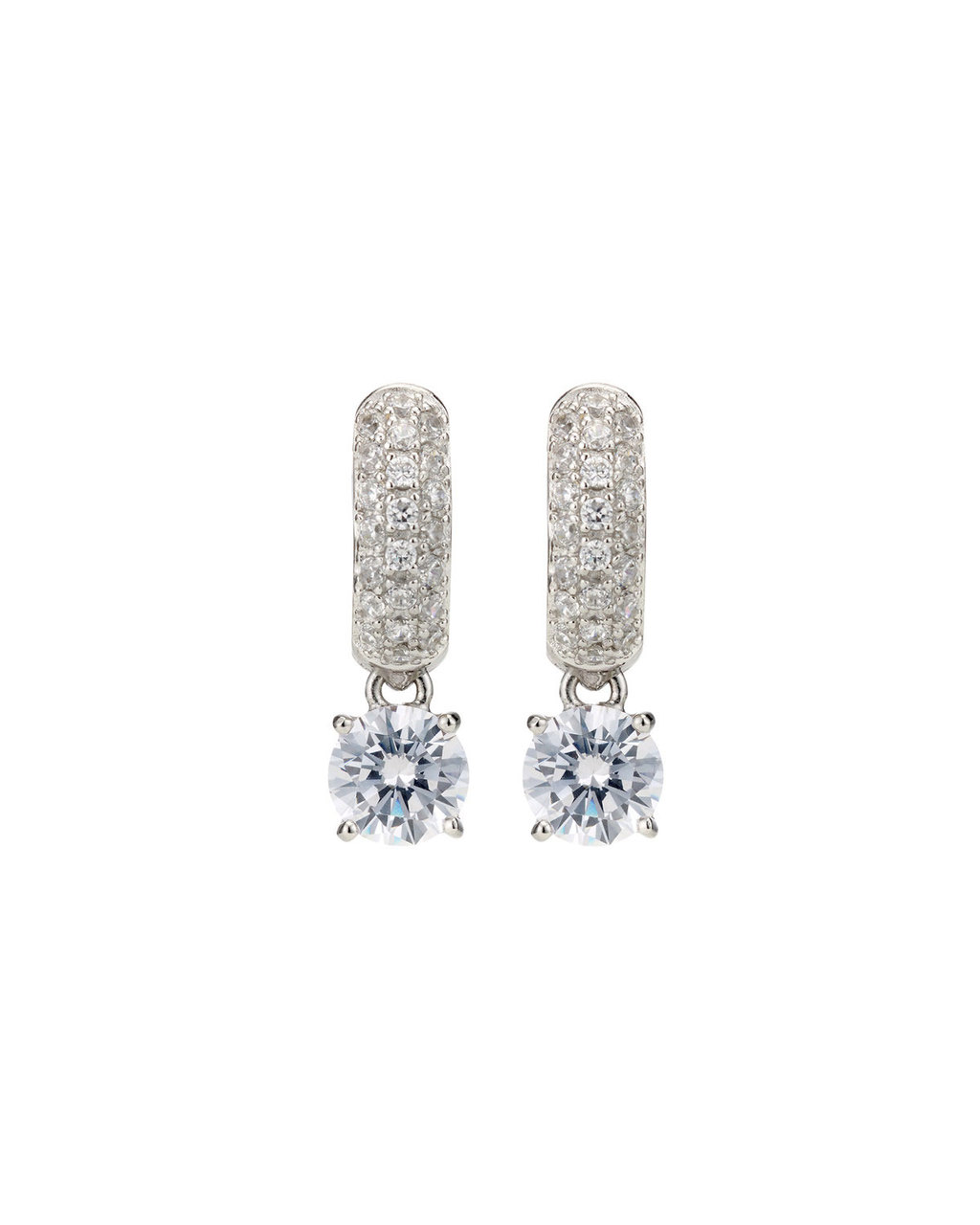 Cubic Zirconia Pave Drop Earrings - predominant colour: silver; occasions: evening, occasion; style: drop; length: mid; size: standard; material: chain/metal; fastening: pierced; finish: metallic; embellishment: crystals/glass; season: s/s 2016; wardrobe: event