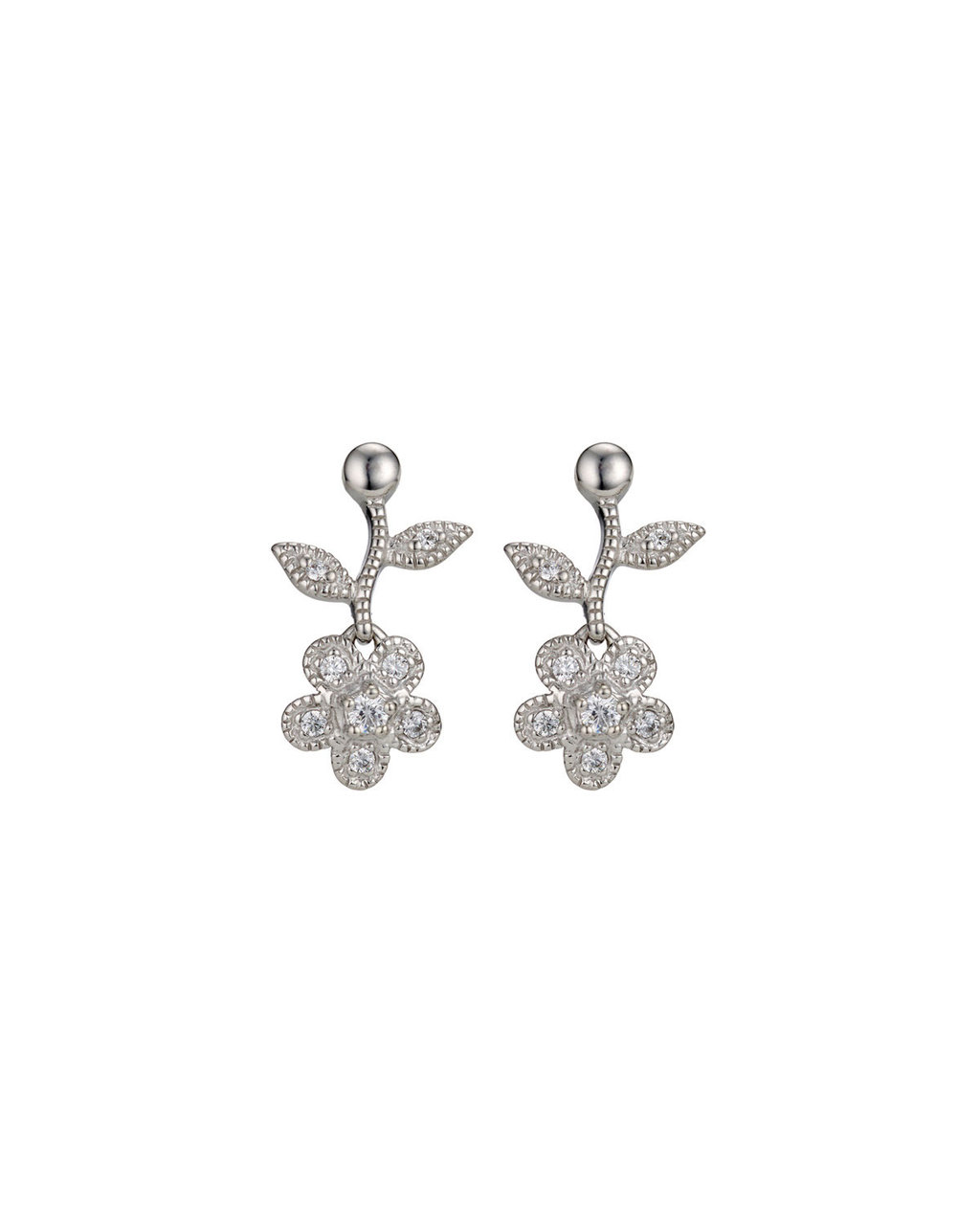Cubic Zirconia Flower Drop Earrings - predominant colour: silver; occasions: evening, occasion; style: drop; length: mid; size: standard; material: chain/metal; fastening: pierced; finish: metallic; embellishment: crystals/glass; season: s/s 2016; wardrobe: event