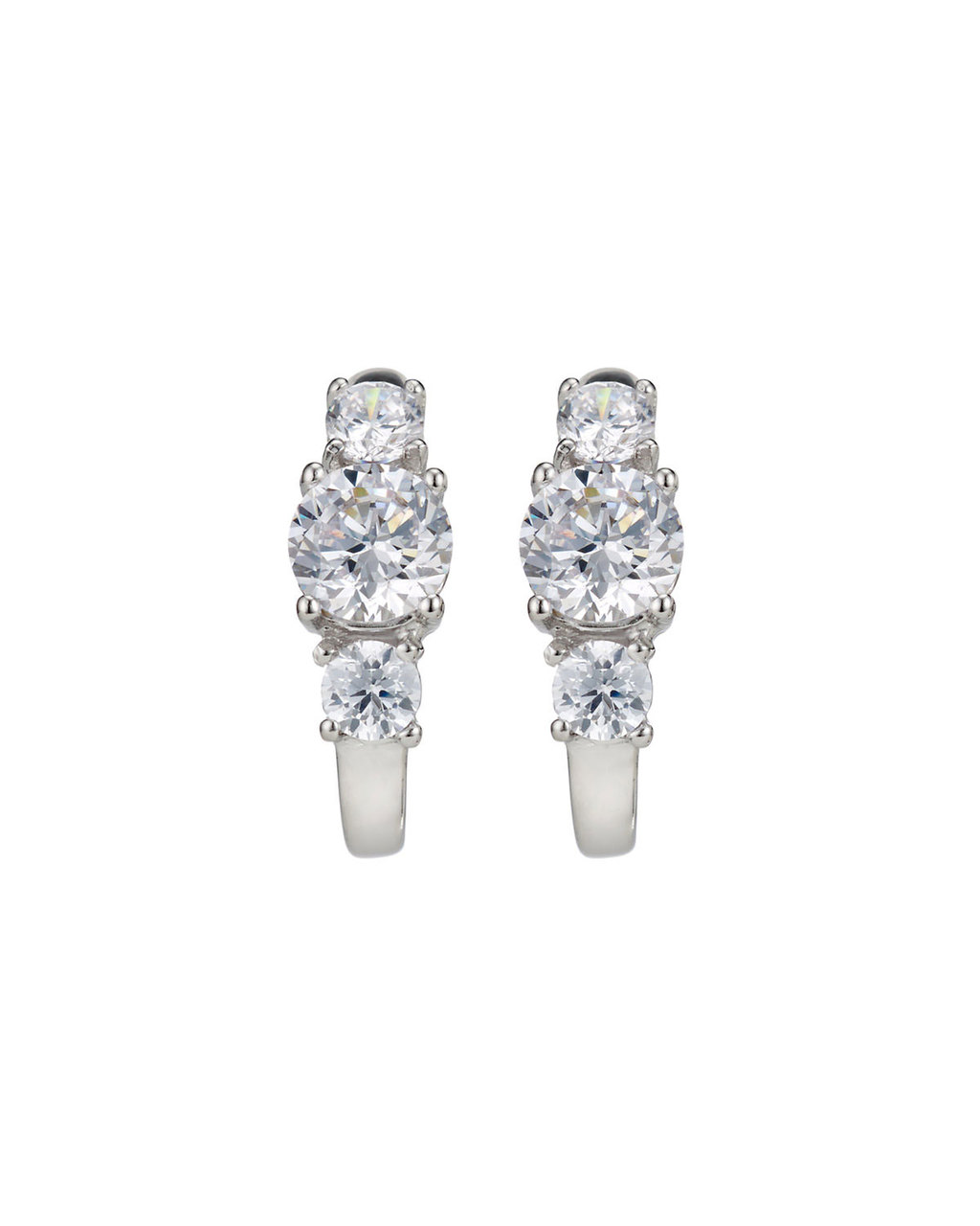 Cubic Zirconia Pave Trilogy Studs - predominant colour: silver; occasions: evening, occasion; style: drop; length: mid; size: standard; material: chain/metal; fastening: pierced; finish: metallic; embellishment: crystals/glass; season: s/s 2016; wardrobe: event