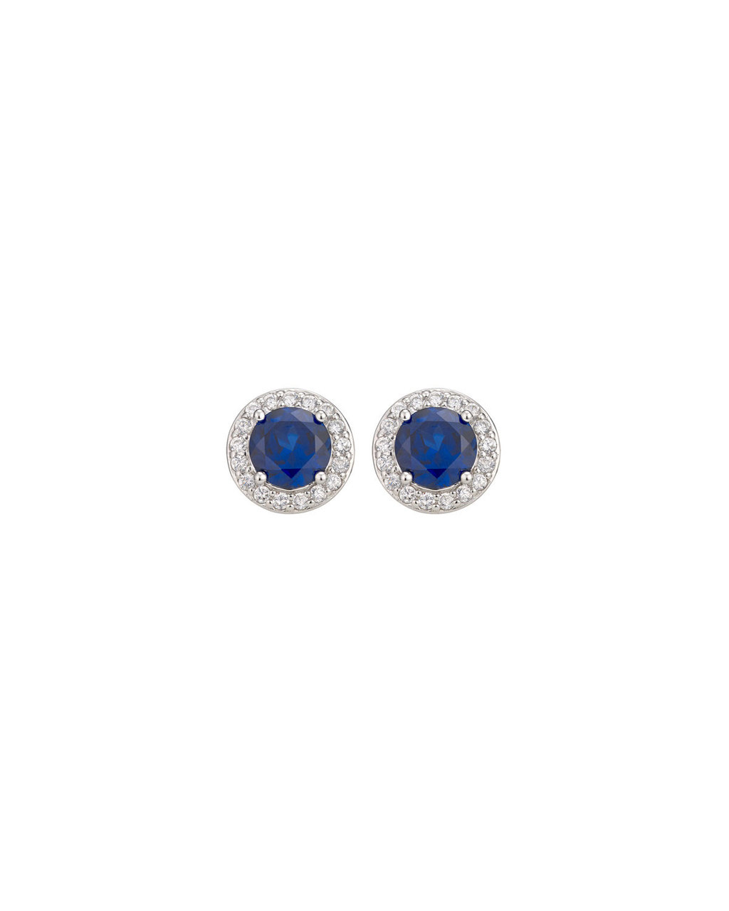 Cubic Zirconia Stud Earrings - secondary colour: royal blue; predominant colour: silver; occasions: occasion; style: stud; length: short; size: standard; material: chain/metal; fastening: pierced; finish: metallic; embellishment: jewels/stone; season: s/s 2016; wardrobe: event