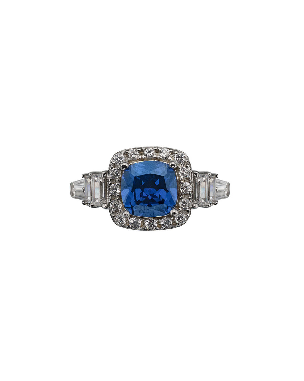 Cubic Zirconia Cushion Ring - secondary colour: diva blue; predominant colour: silver; occasions: evening; style: cocktail; size: large/oversized; material: chain/metal; finish: metallic; embellishment: jewels/stone; season: s/s 2016; wardrobe: event