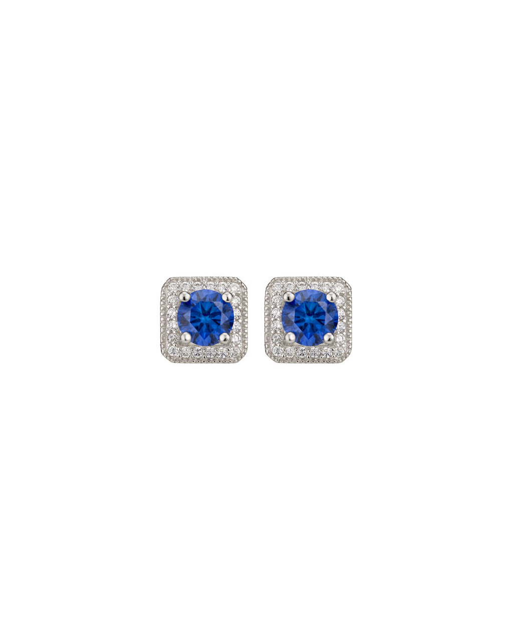 Cubic Zirconia Square Studs - secondary colour: royal blue; predominant colour: silver; occasions: evening, occasion; style: stud; length: short; size: small/fine; material: chain/metal; fastening: pierced; finish: metallic; embellishment: jewels/stone; season: s/s 2016; wardrobe: event