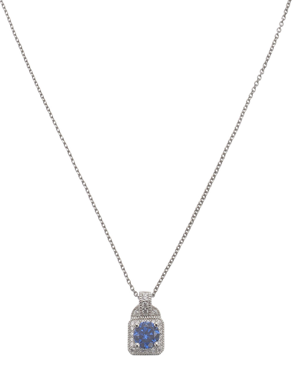 Cubic Zirconia Square Pendant - secondary colour: navy; predominant colour: silver; occasions: evening; style: pendant; length: mid; size: standard; material: chain/metal; finish: metallic; embellishment: jewels/stone; season: s/s 2016