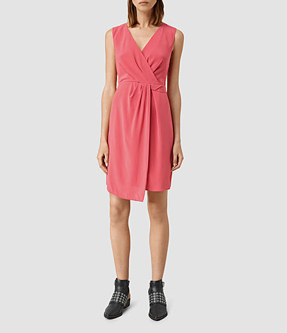Peak Dress - style: shift; neckline: v-neck; fit: fitted at waist; pattern: plain; sleeve style: sleeveless; predominant colour: pink; occasions: evening; length: just above the knee; fibres: silk - 100%; sleeve length: sleeveless; pattern type: fabric; texture group: other - light to midweight; season: s/s 2016; wardrobe: event
