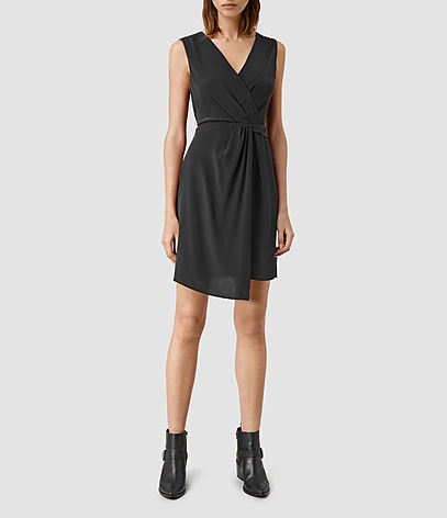 Peak Dress - style: shift; neckline: v-neck; fit: fitted at waist; pattern: plain; sleeve style: sleeveless; predominant colour: black; occasions: evening; length: just above the knee; fibres: silk - 100%; sleeve length: sleeveless; pattern type: fabric; texture group: other - light to midweight; season: s/s 2016; wardrobe: event