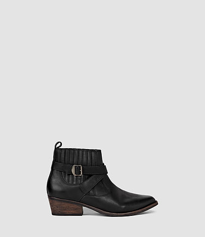 Quentin Boot - predominant colour: black; occasions: casual, creative work; material: leather; heel height: flat; heel: block; toe: pointed toe; boot length: ankle boot; style: standard; finish: plain; pattern: plain; season: s/s 2016